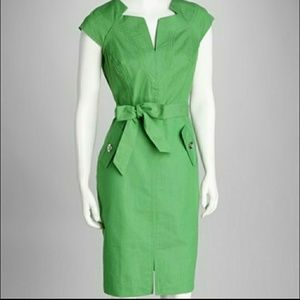 Sharagano Apple Belted Sheath Dress Size 4